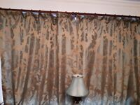 Marks and Spencer 2 pairs Duck egg blue and silver grey full length jacquard pleat curtains