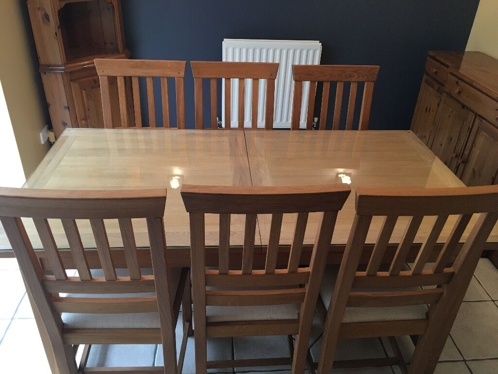 Laura Ashley Milton Large Extendable Oak Dining Room Table C W 8 Matching Chairs
