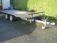 "LARGE FLAT BED TRAILER/ CAR TRANSPORTER/ PLANT TRAILER 16' X 6'6""/ 3.5 TONNE CARRYING CAPACITY"