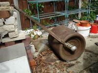 Twin roller metal 16 inch garden roller in working order