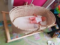 Mothercare moses basket with stand, canopy and mattress