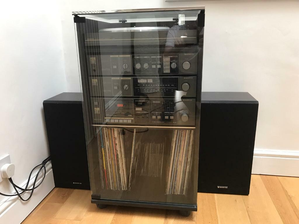 Vintage Sanyo HiFi Separates in Black Cabinet with Glass Door and ...
