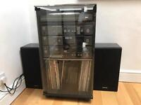 Vintage Sanyo HiFi Separates in Black Cabinet with Glass Door and Lid