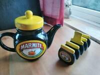 Marmite Teapot and toast holder