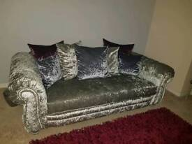CRUSHED VELVET SCATTER BACK SOFA AND LOVE CHAIR