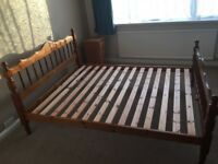 Durham pine king size bed frame in good condition