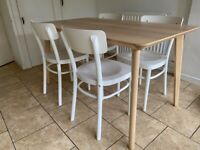 Kitchen / Dining Table and 4 Chairs - Light Coloured Table Top With White Chairs