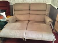 RECLINING TWO SEAT SOFA, MANUAL ACTION, BEIGE, VERY GOOD CONDITION