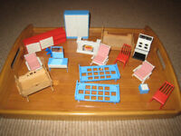 Dolls' house furniture for lounge, bedroom and kitchen