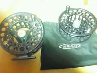Vision nite salmon fly reel 9/11 with two spare spools original box and reel bags