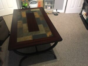 Wooden Coffee Table with Tile Patterned Top + Metal Frame