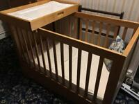Childs Cot with change platform and storage draw