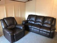 🛎 Luxury 3 & 1 ~ dark brown full leather ~ reclining sofas suite