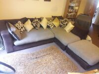 Large Corner Sofa with Pouffe