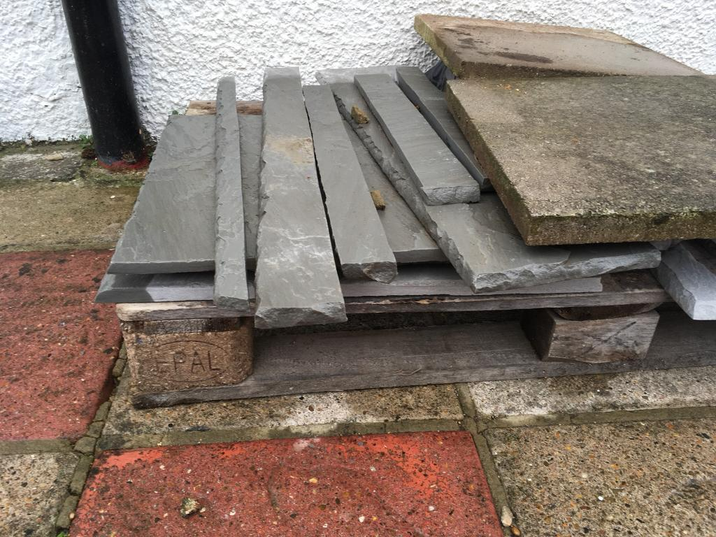Leftover Shavings And Pieces Of Blue Grey Slate Paving Patio