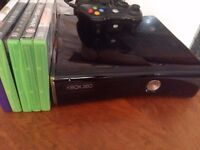 X box 360 slim 250GB, kinnect, controller and games