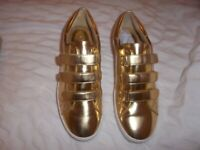 Michael Kors Ladies Gold Leather Metallic Trainers UK 4.5,New With Box,RRP£130.