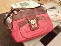 Red and brown leather B. Makowsky handbag