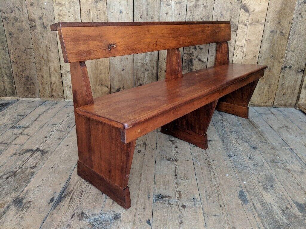 Scarce 60s solid teak modernist church pew mid century modern seating chairs dining england gplanera