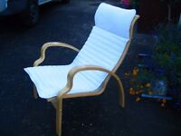 Scandinavian Swedish style armchair, bentwood sling chair lounge chair, bent chair, by IKEA