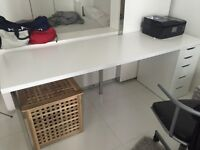 IKEA office desk with LINNMON table top, SJUNNE leg and ALEX drawer white (Length 200cm)