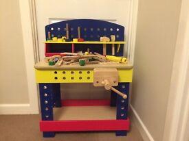 Children's wooden work bench