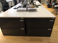 office Flexiform Tambour Cabinet Grey and White 4 large filing drawers