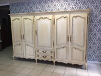 Wardrobe 5 door Oak Louis XV, French style