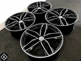 "BRAND NEW 19"" AUDI RS6 STYLE ALLOY WHEELS- 5 x 112- GLOSS BLACK WITH DIAMOND CUT FINISH- Wheel Smart"