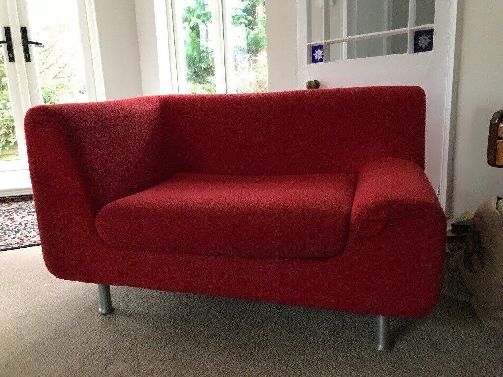 1 Arm Habitat 2 Seater Sofa Red Fabric Steel Colour Legs