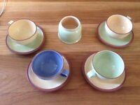 DENBY Stoneware Set: Tea Coffee Cups, Saucers & Sugar Bowl. Assorted colours