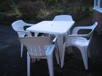 PVC Patio Table And 4 Chairs