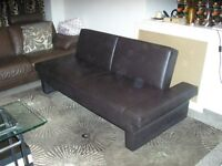 sofa bed brown leather very good condition hardly been used