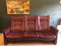Scandinavian Ekorness Leather Three Seater Recliner Sofa