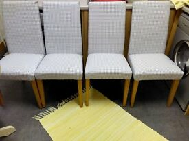 NEXT SET OF FOUR, HIGH BACKED PADDED DINING CHAIRS WITH LIGHT OAK LEGS