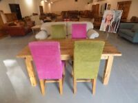 Beautiful 6FT Rustic Solid Pine Table With & 4 Chairs
