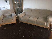 DFS cream fabric sofa and arm chair