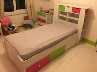 Kids bed, wardrobe, drawers, and toy box
