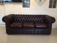 IMMACULATE CHESTERFIELD 3 SEATER SOFA IN OXBLOOD