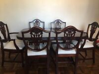Mahogany expandable dining table and 6 chairs