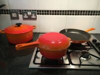 Cast Iron Le Creuset Pan Set in Volcanic Orange