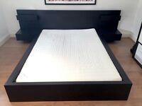 Ikea Malm double bed with 2 floating bedside tables and mattress