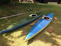 2 canoes with paddles 14 feet single seat