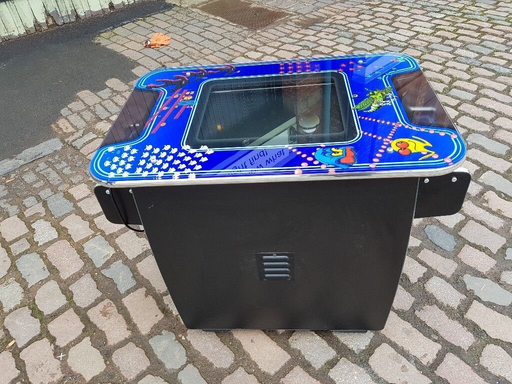 RETRO COFFEE TABLE STYLE 2 PLAYER 48 GAME ARCADE CONSOLE PAC MAN SPACE  INVADERS ETC FAB