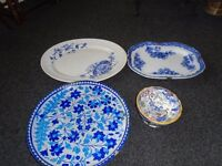 3 large plates and 1 dish all old