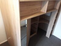 High sleeper with wardrobe, shelves, draws and desk