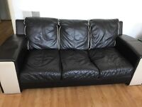 Dark Brown 3 Seater Leather Sofa with Two Matching Armchairs