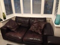 2 X Couch Settee black real leather sofa DFS seats 1-4 / 1-3 collect Harrow