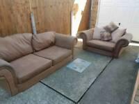 Brown clean fabric sofa & single