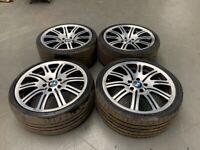 BMW E46 M3 Style 67 M Double Spoke 19 inch Diamond Cut Alloy Wheels Staggered 330i 325i 330d
